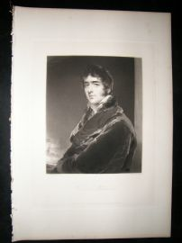 After Thomas Lawrence 1839 Folio Mezzotint Portrait. Viscount Melbourne